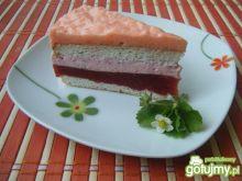 Ciasto z musem truskawkowym i galaretką
