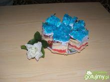 Ciasto z niebieską galaretką