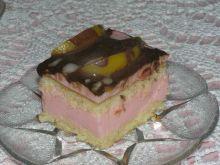 Ciasto z różową masa i brzoskwiniami