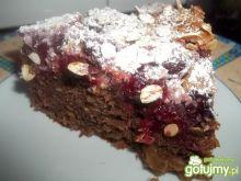 Ciasto z wiśniami i płatkami owsianymi
