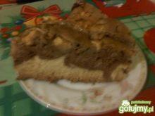 Ciasto zebra z jabłkami zalane galaretką