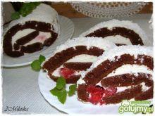 Czekolodowo-truskawkowa rolada