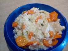 Delikatny schabik z ryżem i warzywami