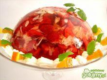 Deser galaretkowy z truskawkami i akacją