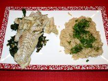 Dorsz na szpinaku z morskim ryżem