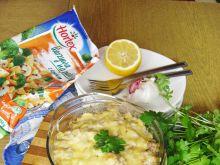 Dorsz pieczony ze śmietaną i warzywami