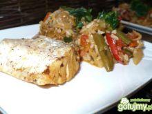Dorsz uduszony w warzywach z ryżem
