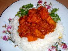 Dynia na ostro  z ryżem