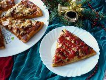 Dyniowa pizza z pieczarkami i wędliną