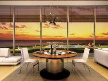 Elegancki stół z funkcjonalną lodówką