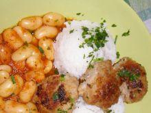 Fasola Jaś z mielonym kotletem i ryżem