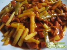 fasolka szparagowa z kurkami, kiełbasą