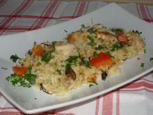 Filet z ryżem i pieczarkami