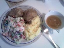 Gotowany kurczak z musem i sałatką!