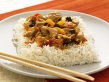 Indyk z brzoskwiniami na ryżu