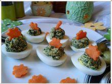 Jajeczka z zielono-żółtym  farszem