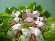 Jajka na sałacie z sosem i rzodkiewką
