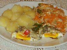 Jajka sadzone pod pieczarkową pierzynką