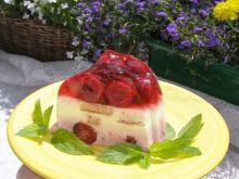Jogurtowy deser z galaretką i wiśniami