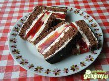 Kakaowe ciasto z masą i galaretką