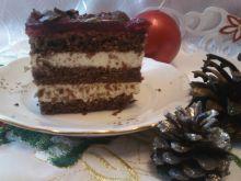 Kakaowo - wiśniowy tort z kremem i galaretką