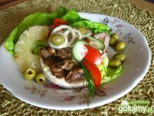 Kanapka ryżowa farmerska z mięsem.