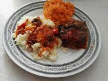Karkówka z papryką, cebulą i grzybami