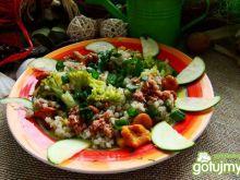 Kasza z warzywami i kurkami