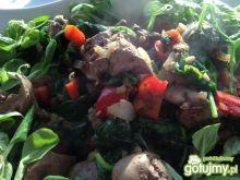 Kebab z wątróbką w zielonej pierzynce.