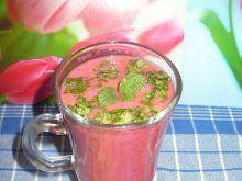 Koktajl malinowo - truskawkowy z miętą