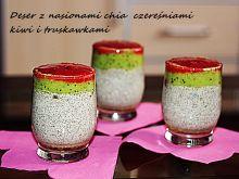 Koktajl mleczny z truskawkami , chia i kiwi