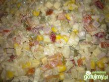 Kolorowa Sałatka - makaron,szynka,ser