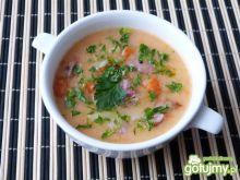 Kolorowa zupa serowa z szynką