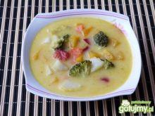 Kolorowa zupa warzywna z kaszą manną