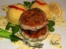 Kotleciki rybno-ziemniaczane z sosem koperkowym