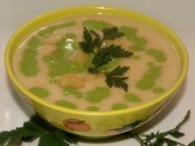Kremowa kartoflanka z zielonym szlaczkiem