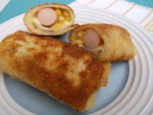 Krokiety z parówką,serem żółtym i kukurydzą
