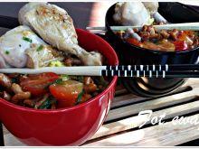 Kurczak duszony w pomidorach i kurkach z ryżem
