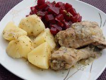 Kurczak duszony z cebulką i majerankiem