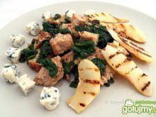 Kurczak i szpinak z grillowaną gruszką
