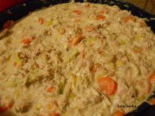 Kurczak w białym sosie z warzywami