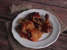 Kurczak w ryżu z pieczarkami i cebulą