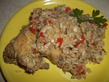 Kurczak z papryką w ryżu