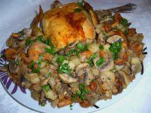 Kurczak złocisty z jarzynką z grzybów