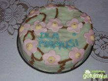Kwiatkowy tort czekoladowo - waniliowy