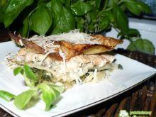 Lasagne z roszponką szpinakiem i łososie