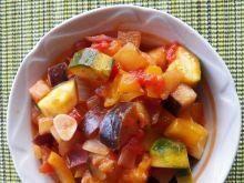 Leczo z dynią, pomidorami i bakłażanem