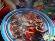 Makaron z bakłażanem mięsem i chili