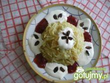 Makaron z jabłkami, dżemem i jogurtem