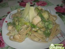 Makaron z  zielonymi warzywami